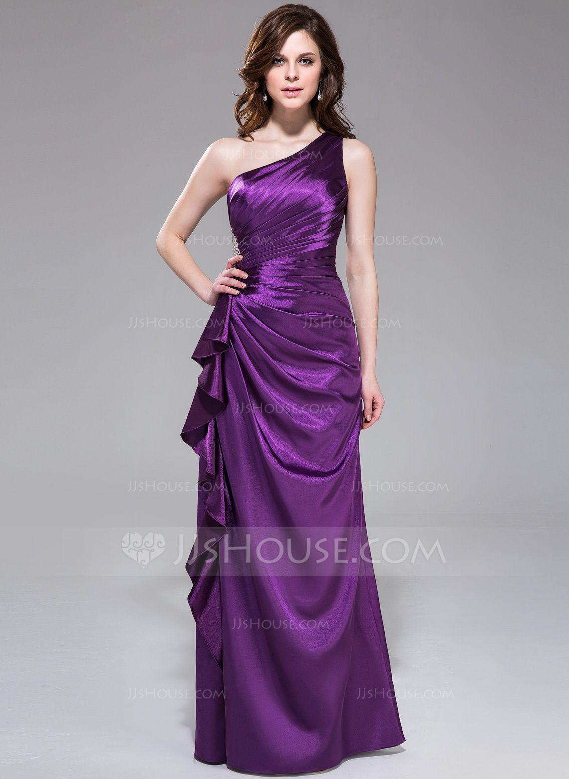 Etui-Linie One-Shoulder-Träger Bodenlang Charmeuse Abendkleid mit Perlen verziert Gestufte Rüschen (007037308) - JJsHouse
