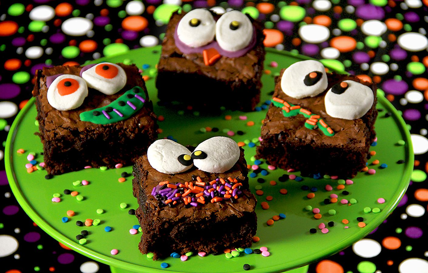 recipe make your halloween party a blast with monster face brownies use marshmallows and ghoulish sprinkles to create this delicious dessert recipe from - Halloween Brownie Recipe