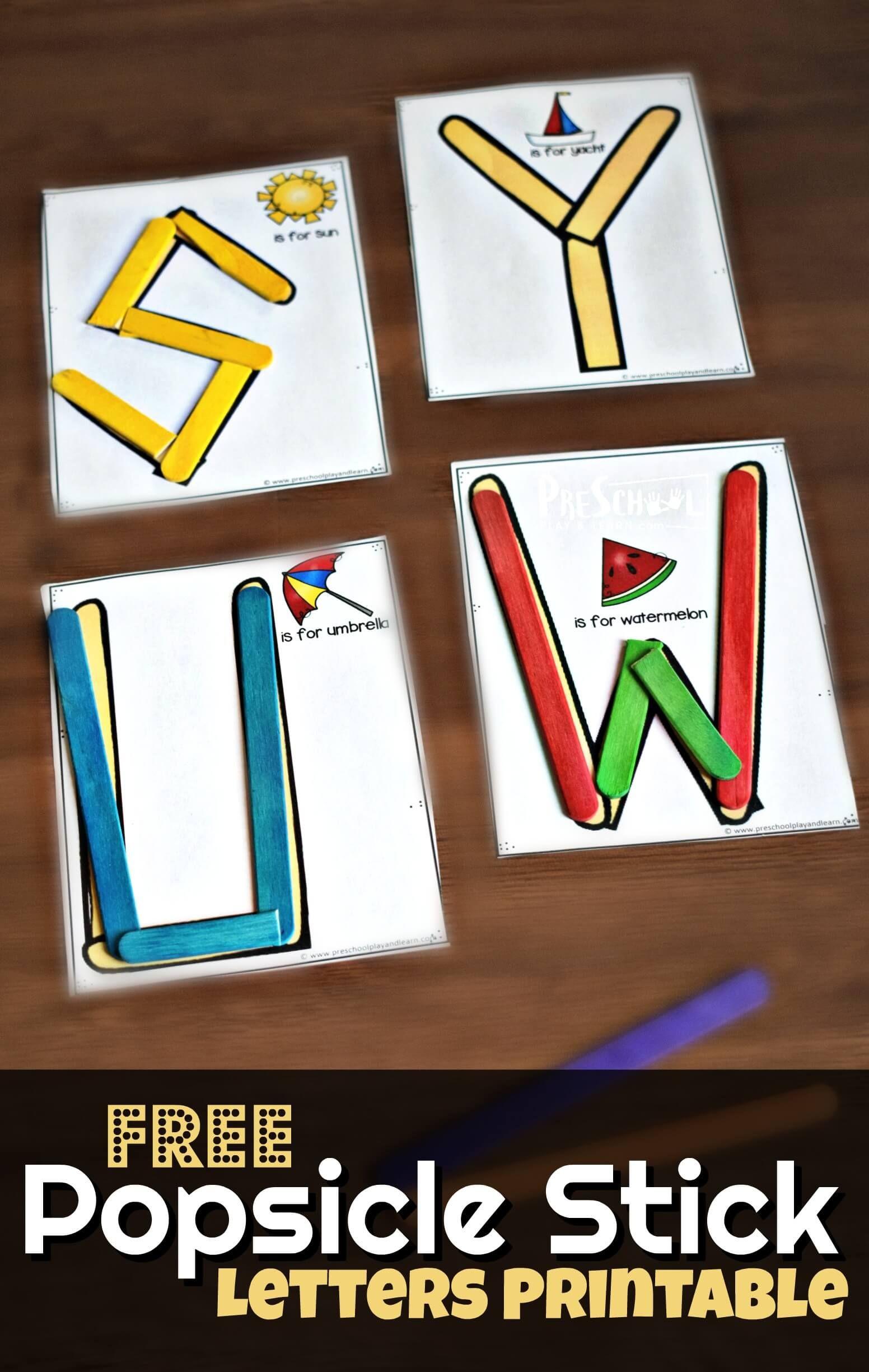 Free Popsicle Stick Alphabet Printable