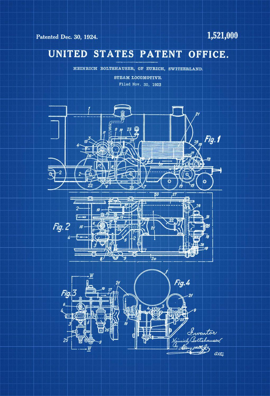 Steam Locomotive Patent – Vintage Locomotive , Locomotive Blueprint ...