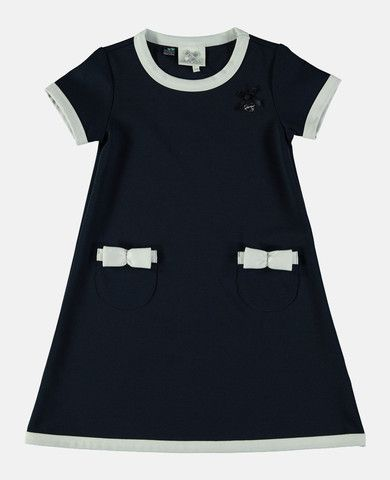 Girls Retro Dress - Navy