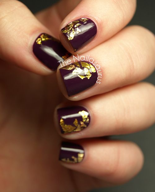 The Nailasaurus Purple Nails With Gold Foil