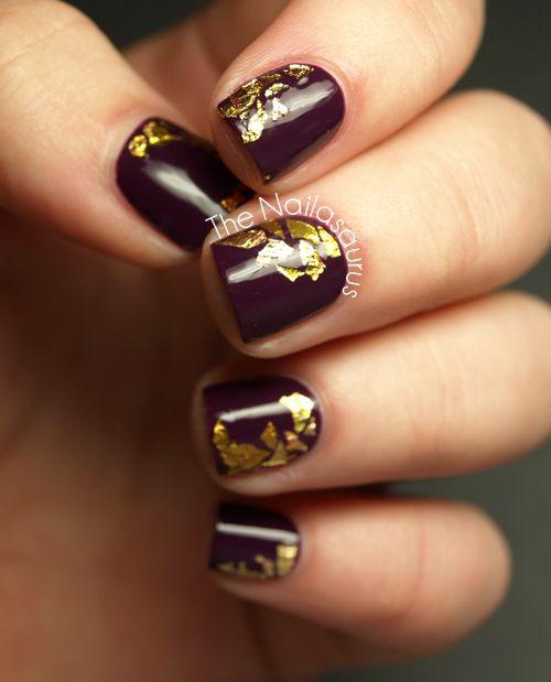 Maroon and gold flecks | Nailed it! | Pinterest | Metallic nails ...