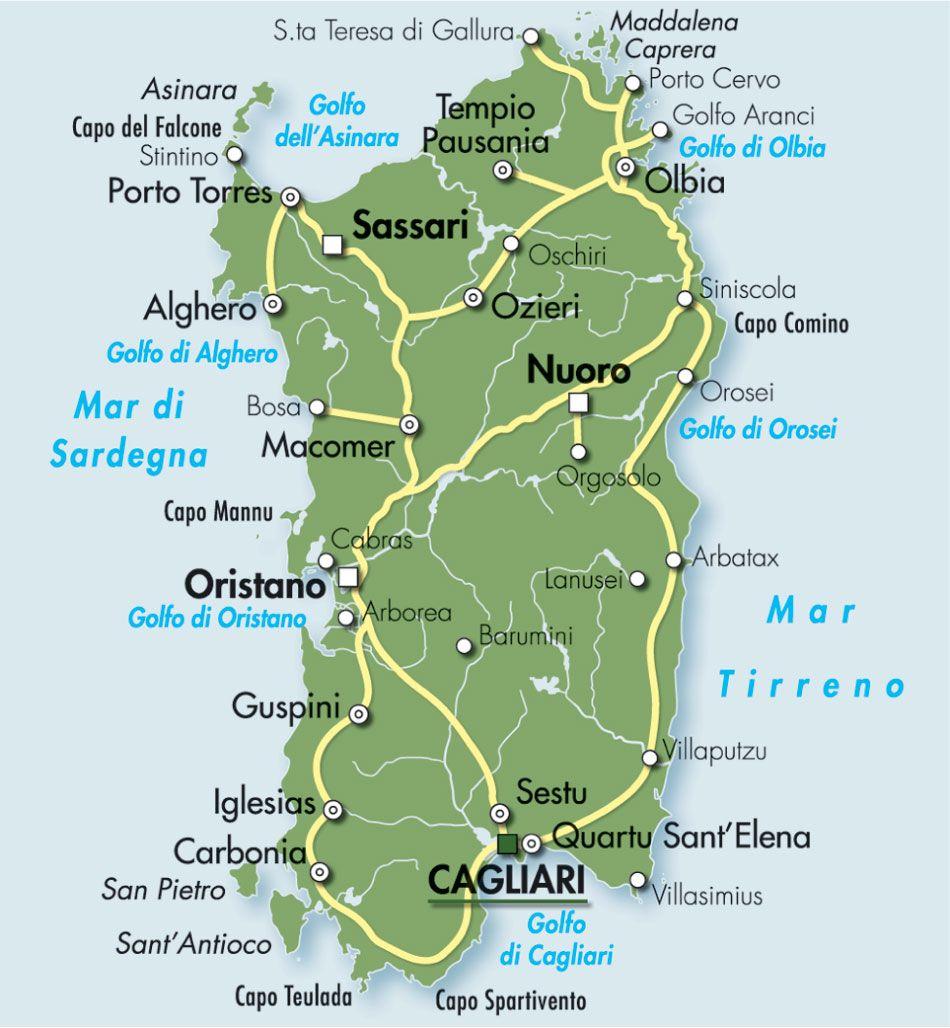 Isole Sardegna Cartina.Isole Della Sardegna Mappa Aranci Arcipelago Sardegna