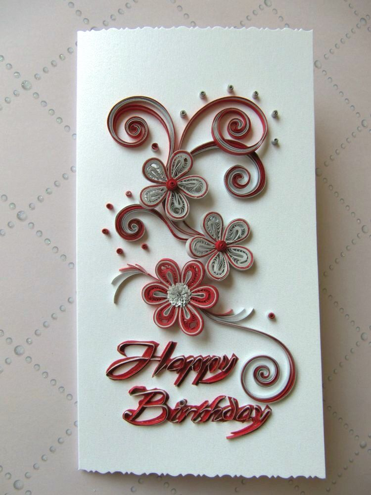 Birthday Greeting Card Ooak Paper Art Card Paper Quilling