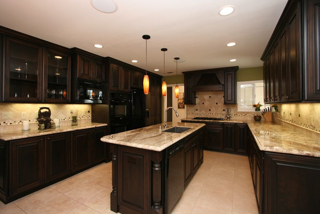 How To Match Your Kitchen Cabinet And Countertop For The Best Appeal Cherry Cabinets Kitchen Backsplash With Dark Cabinets Kitchen Design