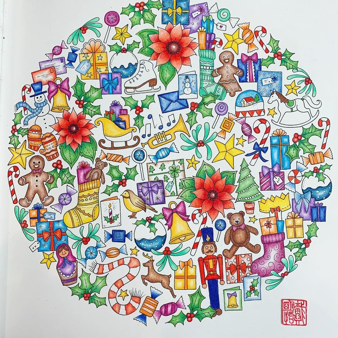 Happy Christmas Prismacolor Johannabasford Johannaschristmas Worldofflowers Inkyivy Magicaljungle Lo Coloring Books Happy Christmas Coloring Pages