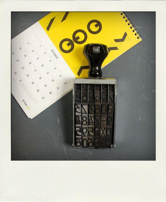 Vintage XL Industrial Metal Rotary Numbering Hand Stamp