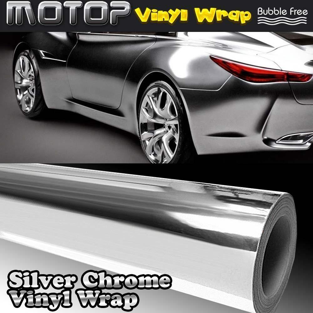 8 X60 Silver Chrome Mirror Vinyl Wrap Film Car Sticker Decal Sheet Bubble Free Mirror Vinyl Vinyl Wrap Car Vinyl Wrap [ 1000 x 1000 Pixel ]