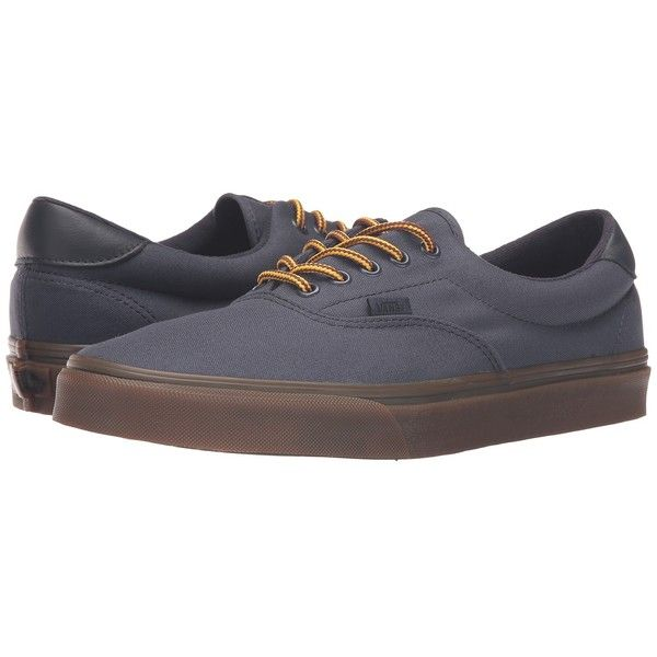 Vans Era 59 ((Hiking) Parisian Night/Gum) Skate Shoes (80 CAD) ❤ liked on Polyvore featuring shoes, sneakers, leather footwear, leather sneakers, leather skate shoes, real leather shoes and vans footwear