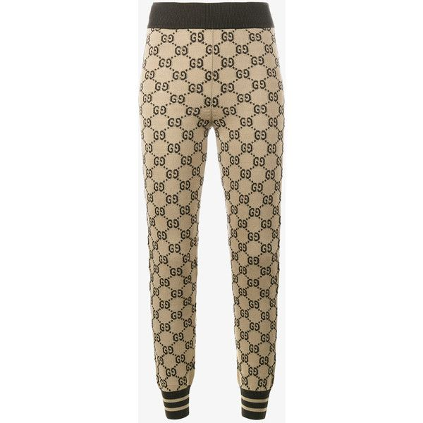 3ae1d67175e7f Gucci Logo Intarsia Knitted Leggings ($1,080) ❤ liked on Polyvore featuring  pants, leggings, brown, print pants, patterned leggings, gucci trousers, ...