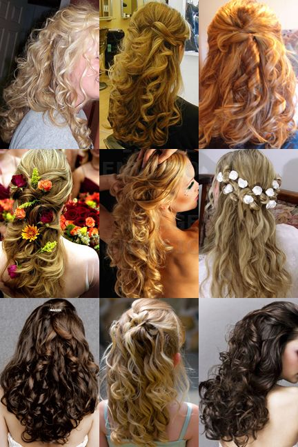 Variety of romantic, half up and half down hairstyles for long hair.