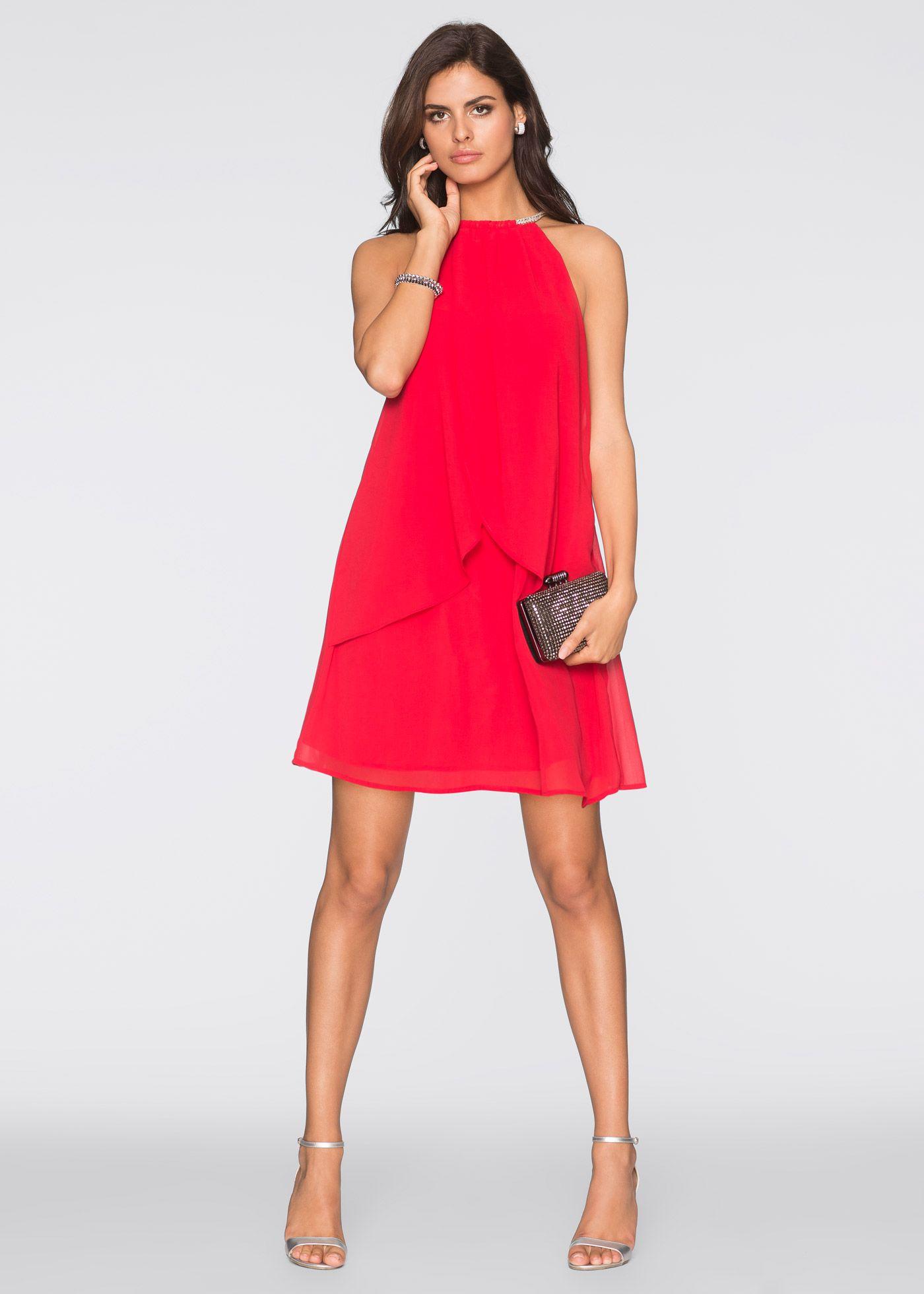 Chiffonkleid mit Collier rot - BODYFLIRT jetzt im Online Shop von