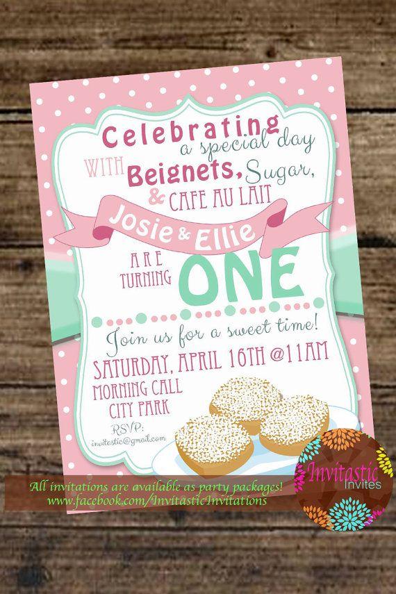 beignets new orleans birthday invitation donut birthday party orleans beignets birthday party themegirl donut party invite