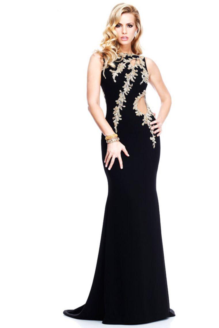 mermaid black evening dresses scoop open back sweep train