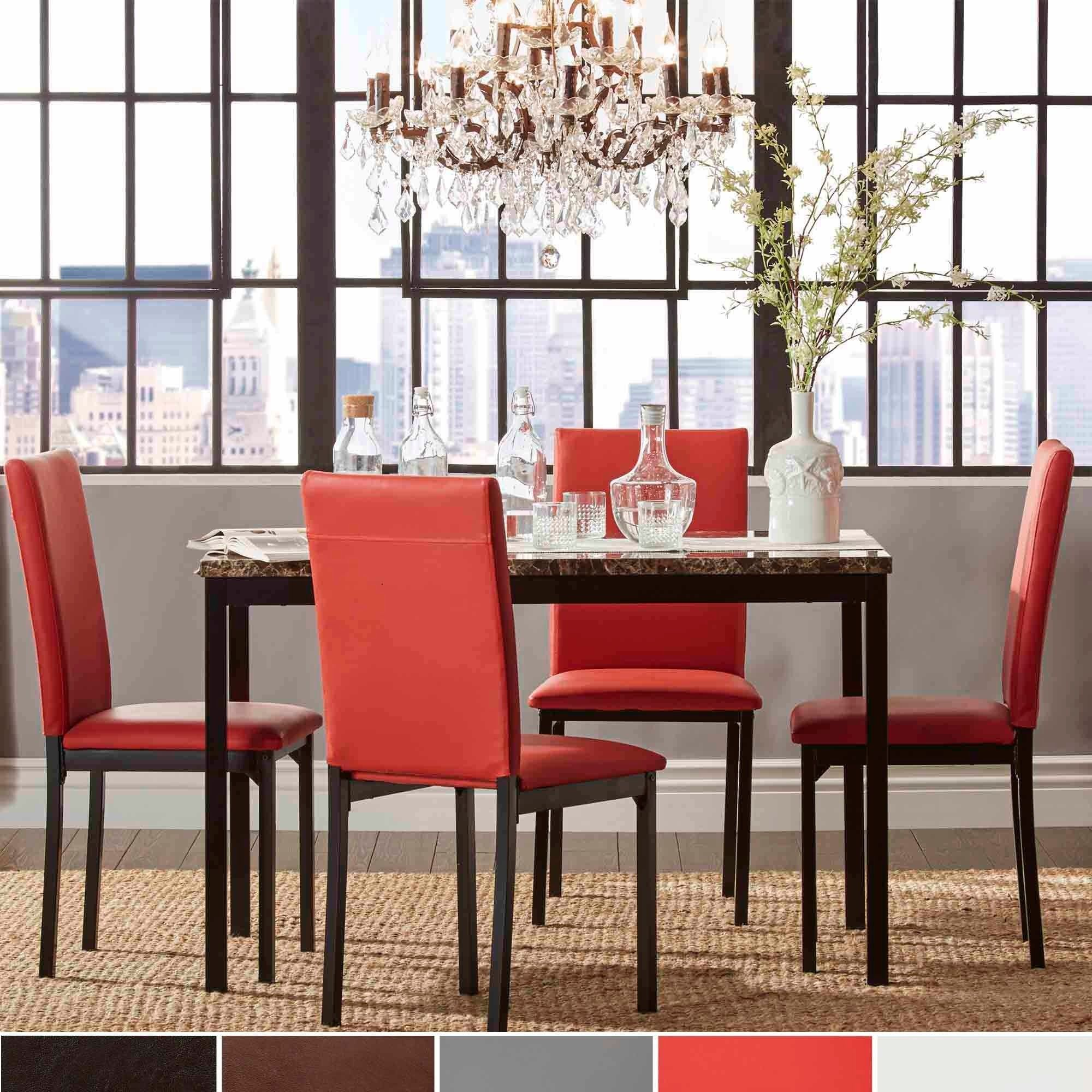 Darcy Faux Marble Top Metal 5-piece Casual Dining Set by iNSPIRE Q Bold by  iNSPIRE Q