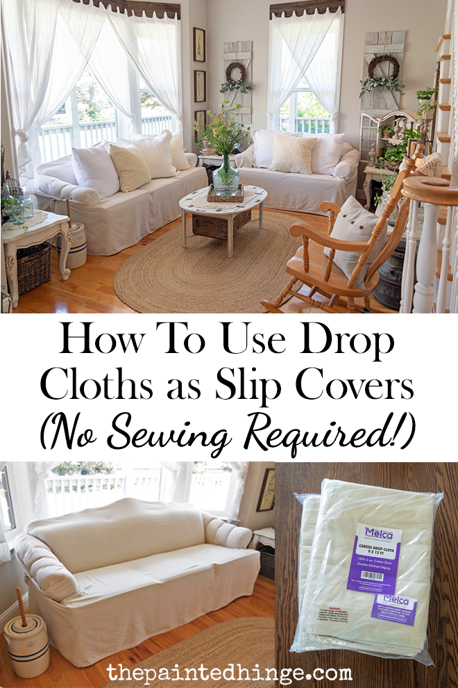 How To Use Canvas Drop Cloths As Slip Covers No Sewing Required Diy Sofa Cover Diy Couch Cover Diy Furniture Covers