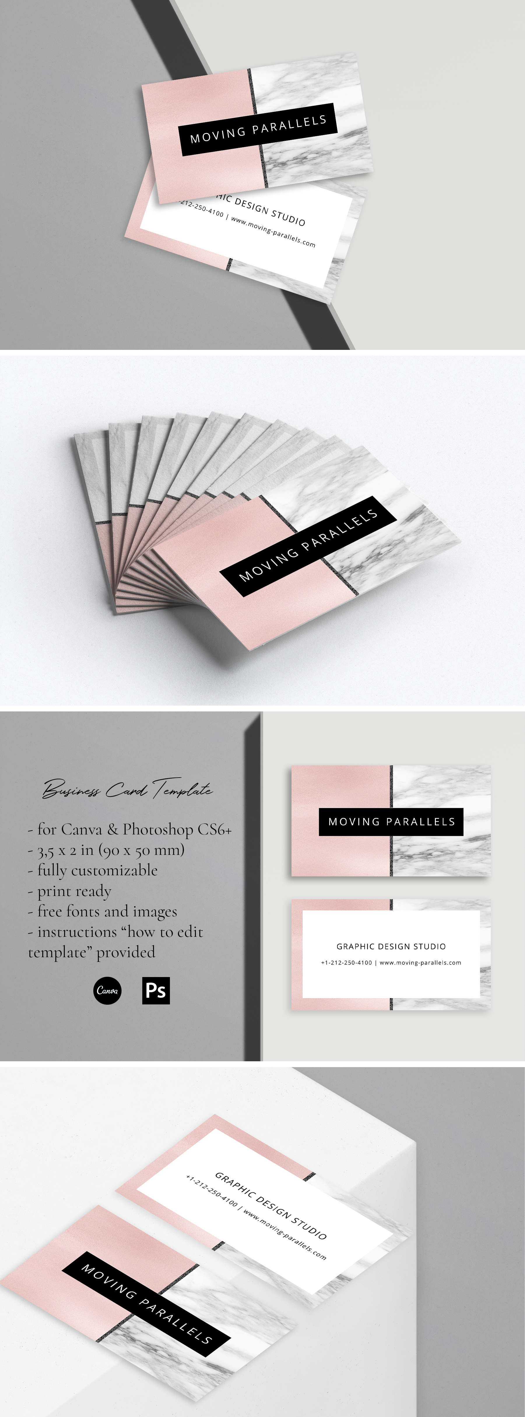 Canva Rose Gold White Black Marble Glitter Foil Horizontal Etsy Foil Business Cards Visiting Card Templates White Rose Gold