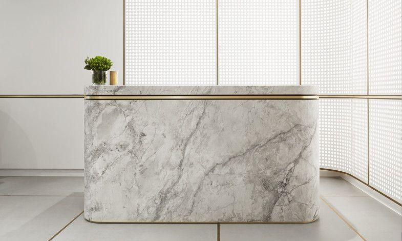 minimal office design. elegant minimal marble gold reception desk landream office mim design studio http
