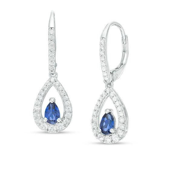 Zales Pear-Shaped Garnet and Lab-Created White Sapphire Drop Earrings in Sterling Silver DEz30Oz