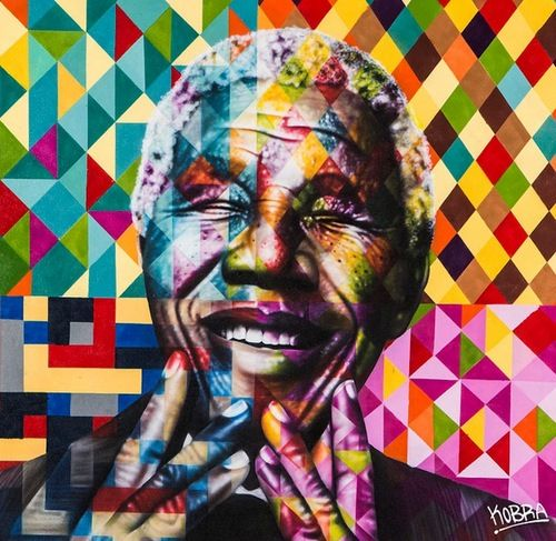 "Colorful Famous Figures  Titled ""Peace"" by Eduardo Kobra"