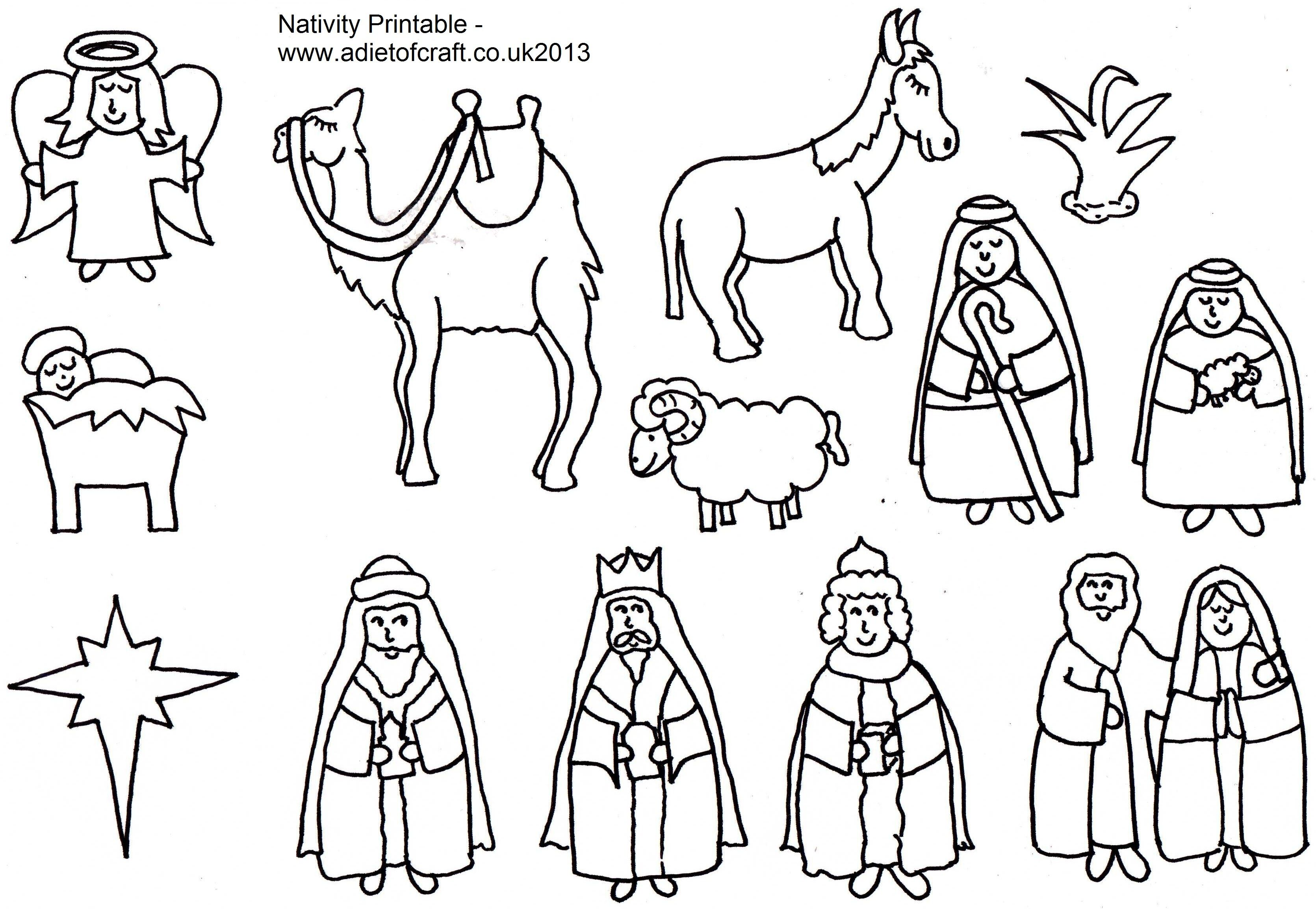 Nativity Scene Coloring Pages Printables  Nativity coloring