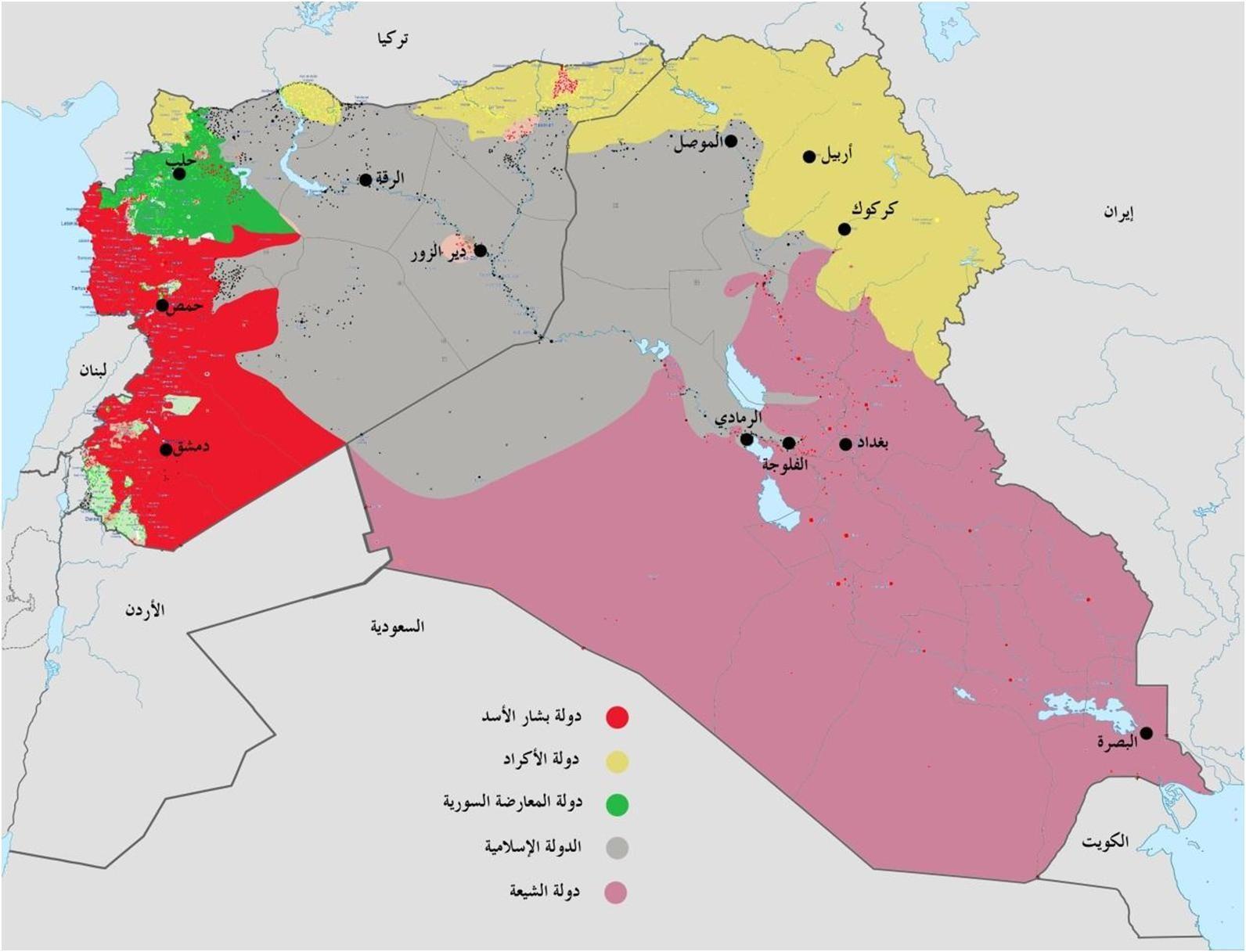 خريطة العراق وسوريا المحتملة في حالة التقسيم ساسة بوست Map World Map Diagram
