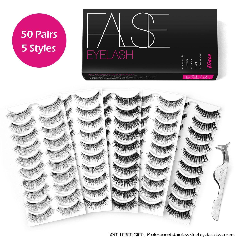 f68c3f1c132 Eliace 50 Pairs 5 Styles Lashes Handmade False Eyelashes Set Professional  Fake Eyelashes Pack,10 Pairs Eyes Lashes Each Style,Very Natural Soft and  ...