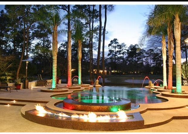 Mediterranean Gunite Pool With Outdoor Kitchen Sheer Decent Nexus Led Small Lighting And Music System Negative Edge Sp Spa Pool Travertine Deck Gunite Pool