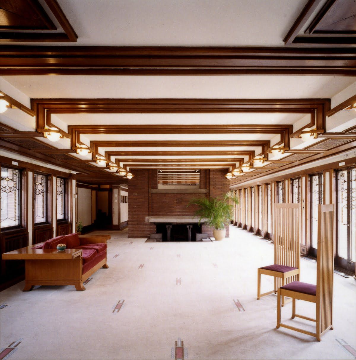 "Modern Architecture Frank Lloyd Wright frank lloyd wright, ""robie house, living room,"" 1909, chicago"