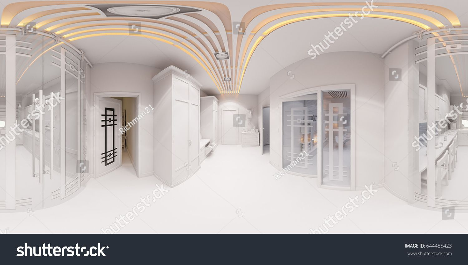 3d Illustration Hall Interior Design In Classic Style. Render Is Made,  Seamless 360 Degree Spherical Panorama Without Textures And Materials In  Gray Tones.