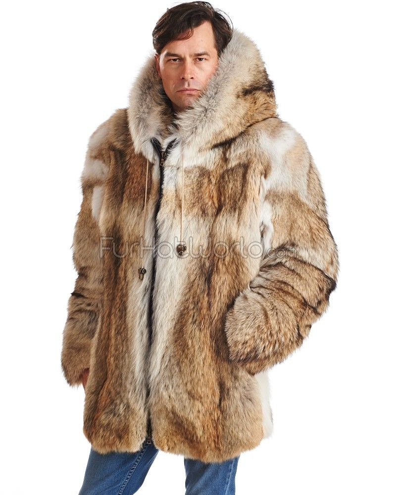 Blake Mid Length Hooded Coyote Fur Coat for Men: FurHatWorld ...