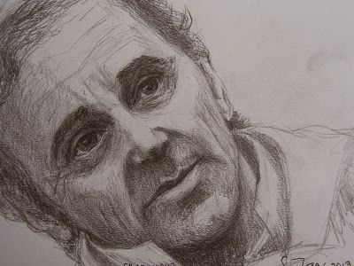 Aznavour, drawn 2013 by Sirkka Jalava