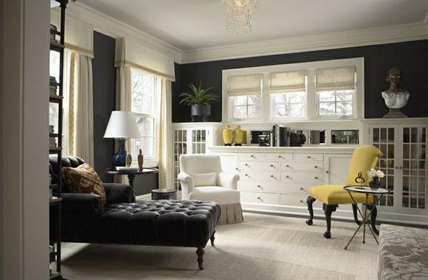 Wohnzimmer Farbgestaltung U2013 Grau Und Gelb   Wohnzimmer Farbgestaltung Grau  Gelb Leder Schwarz