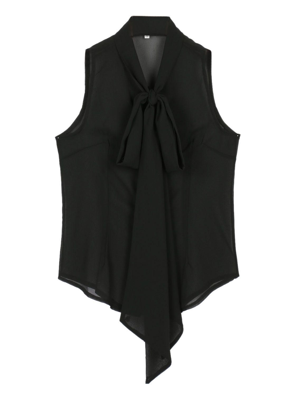 Black Bowknot Front Sleeveless Dipped Sheer Shirt $9.99
