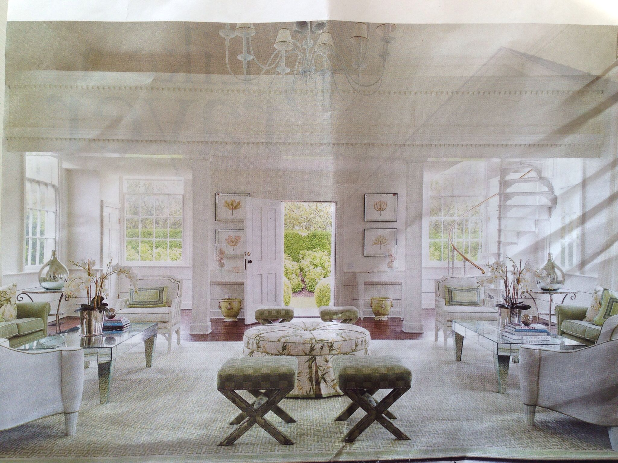 The Perfect Living Room Decorator Andrew Taiani Designed Coffee Tables And Ottoman Fabric Is From Carleton V 1930s Chandelier An Original