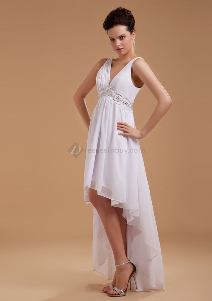 Cheap high low beach wedding dresses