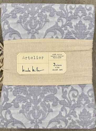 Nicole Miller Blue Damask Matelasse, Nicole Miller Artelier Bedding Blue