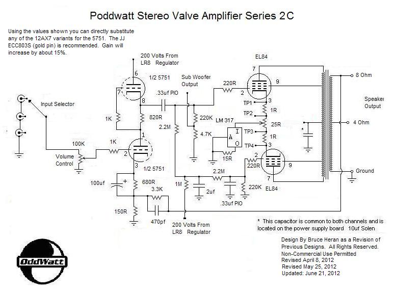 5751 srpp / el84 (6bq5) valve amplifier schematic | valve amplifier,  amplifier, diy amplifier  pinterest