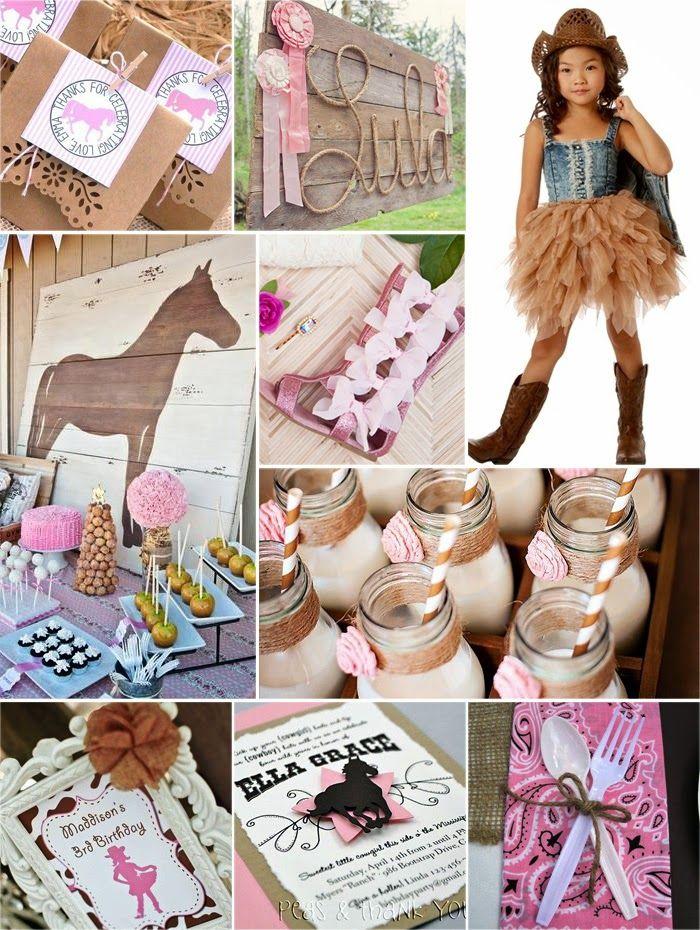 1st Birthday Pink Cowgirl Dessert Plates  cowgirl theme