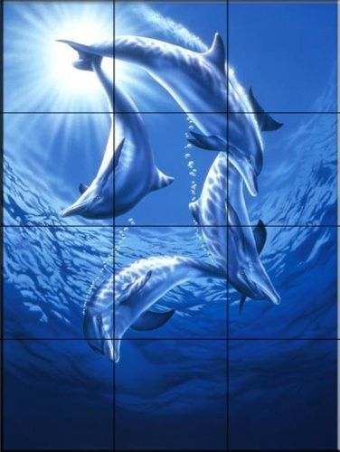 Dolphin Swing By Joh Naito Kitchen Backsplash Bathroom Wall Tile Mural Tile Murals Backsplash Bathroom Wall Mural