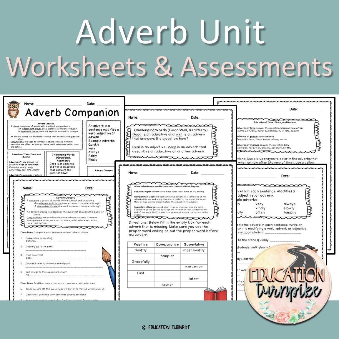 Adverb Unit Worksheets Amp Assessments With Images