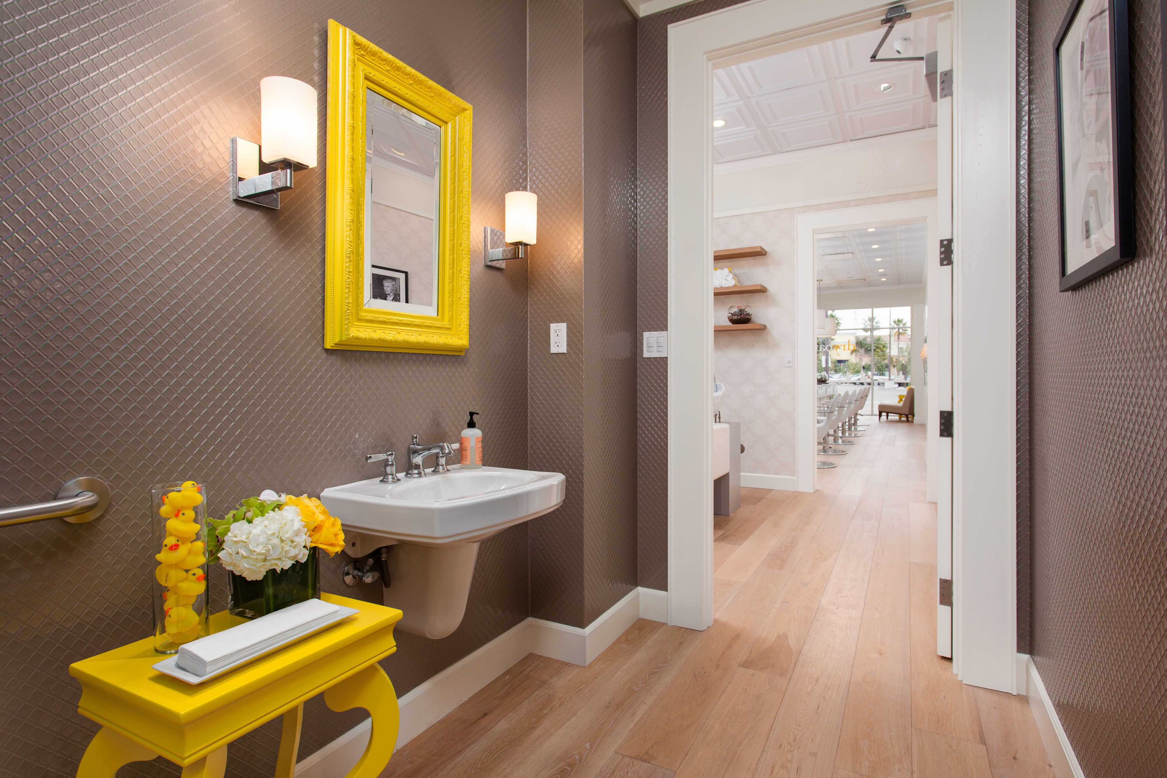grey walls and yellow accents  bathroom inspiration decor