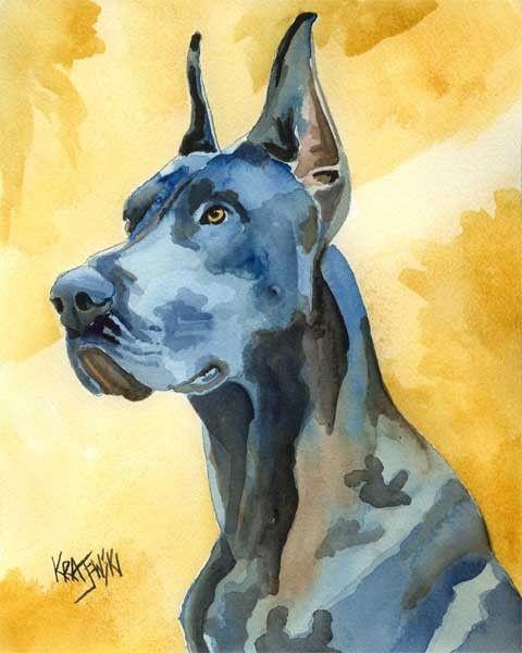 Harlequin Great Dane Art Print By Artist D J Rogers Great Dane