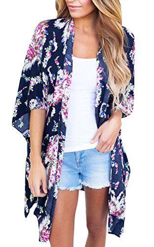 69a9af859 sisiyer Women's Casual Floral Print Chiffon Kimono Cardigan Blouse Beach  Cover Up Swimwear