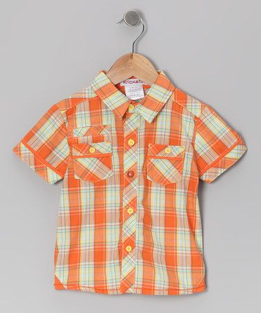 Take a look at this Orange Plaid Wildlife Reporter Button-Up - Infant by Krickets World on #zulily today!