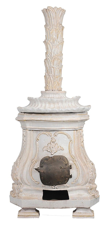19th c. White glazed ceramic Swedish Gustavian style Stove, double shell-form Pagoda top w/ Brass door, pedestal feet...