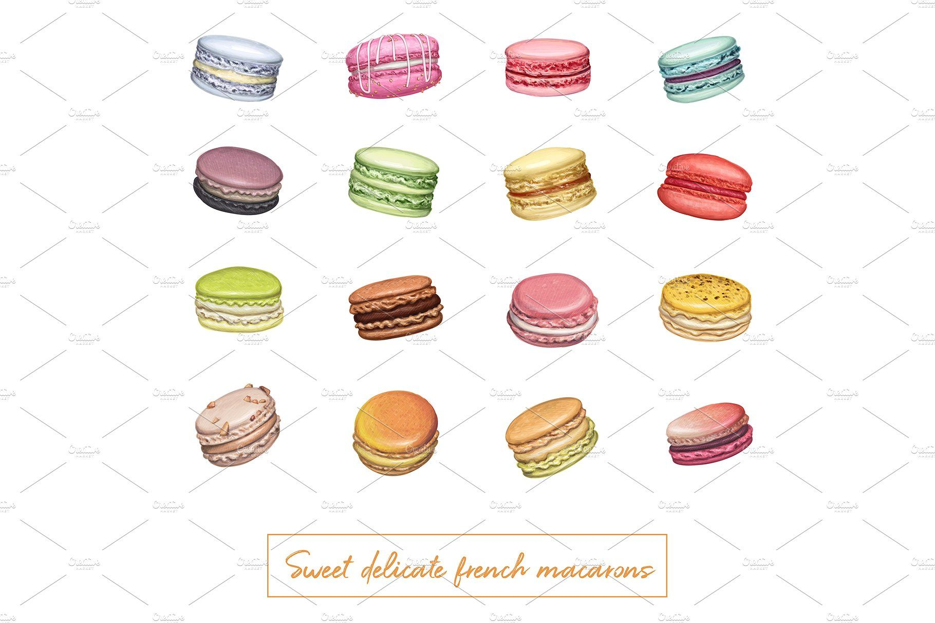 Delicious macarons. Handdrawn vector How to draw hands