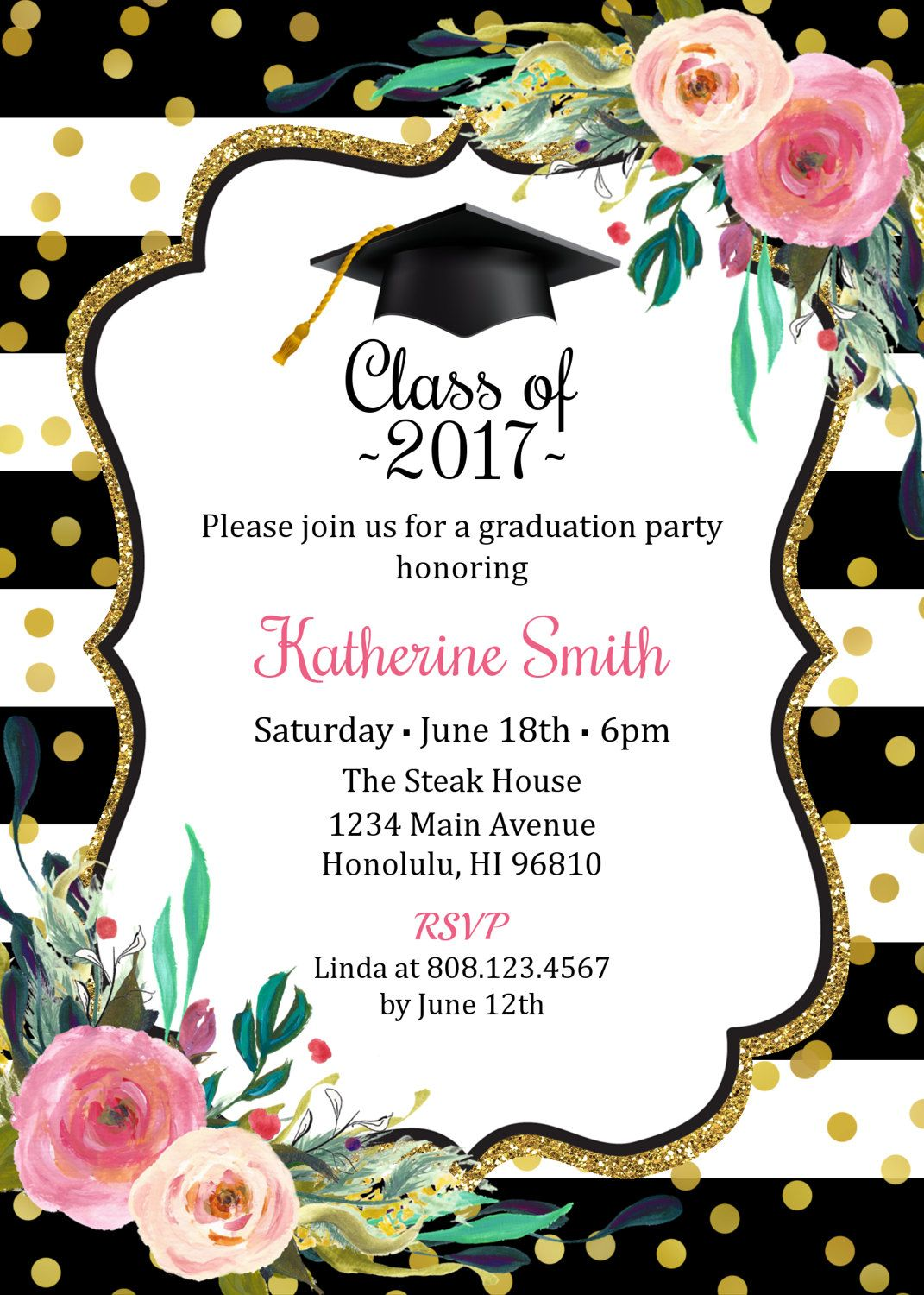 Graduation Invitation for girls, Graduation Party Invitation, High ...