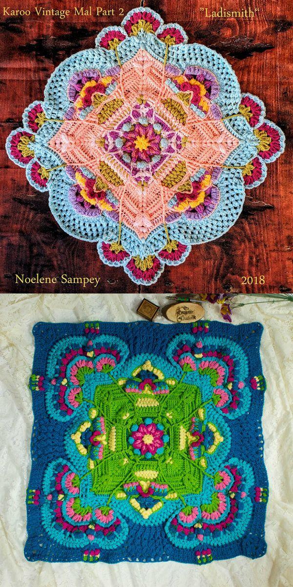 Karoo Vintage MAL Free Crochet Pattern - Crochet - Tutorials #grannysquares